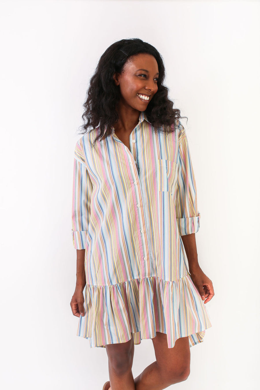 LINDSEY DRESS MULTI COLOR STRIPE