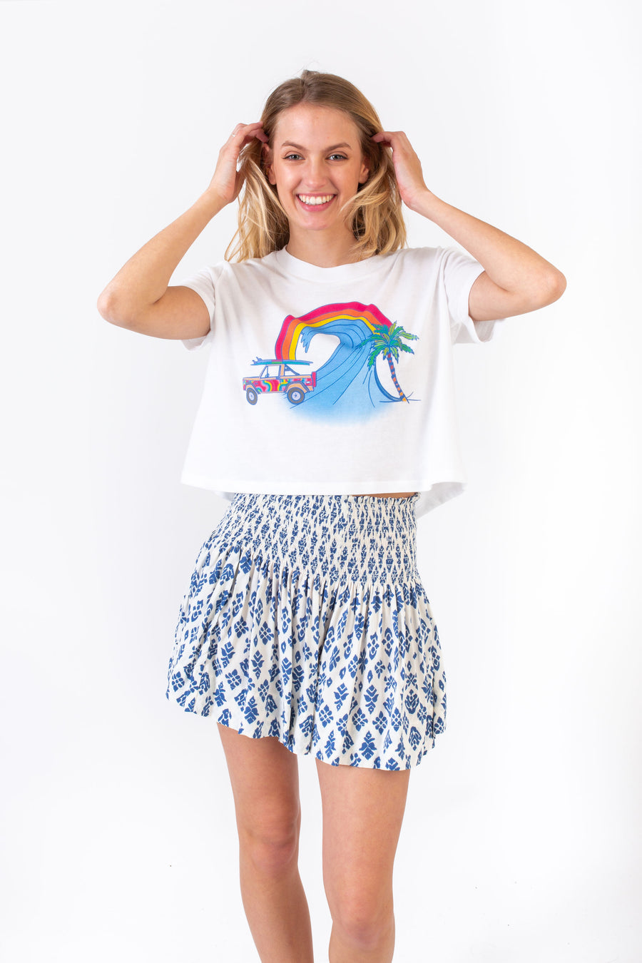 ERICA SKIRT BLUE SURF FLOWER *LIMITED*EDITION*