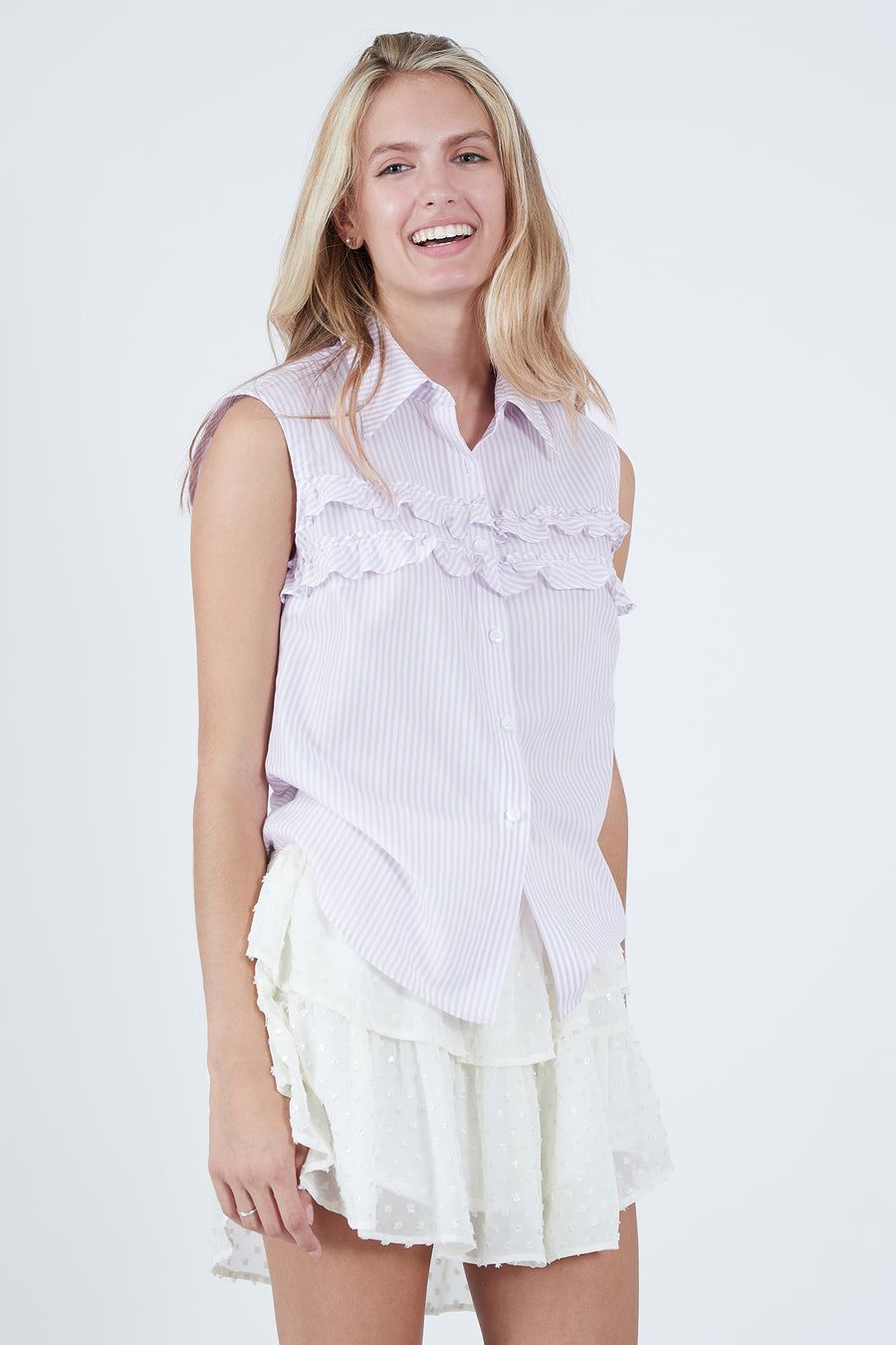 CHARLOTTE TOP PURPLE STRIPE