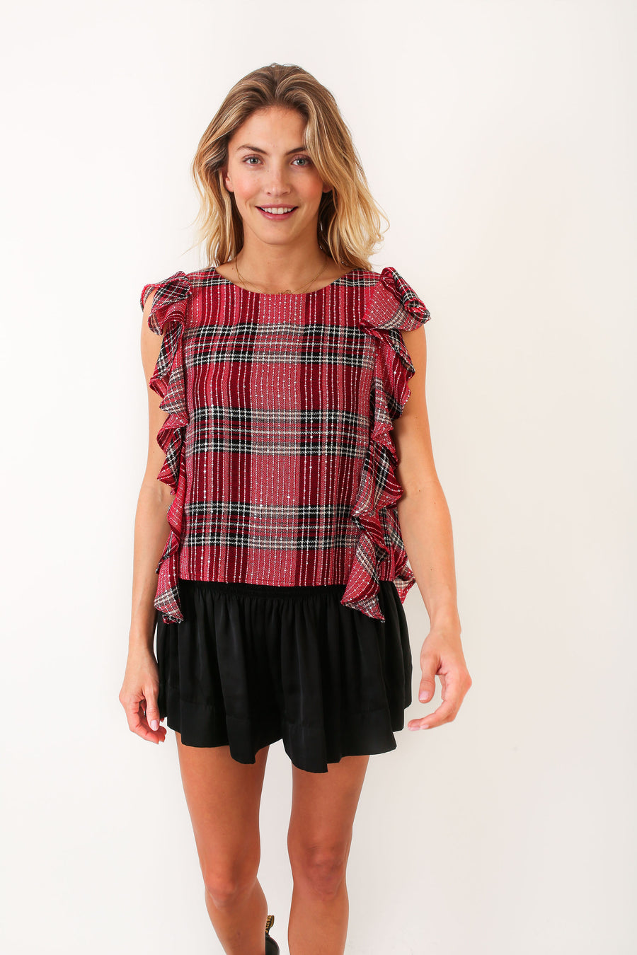 CARA TOP HOLLY BERRY PLAID