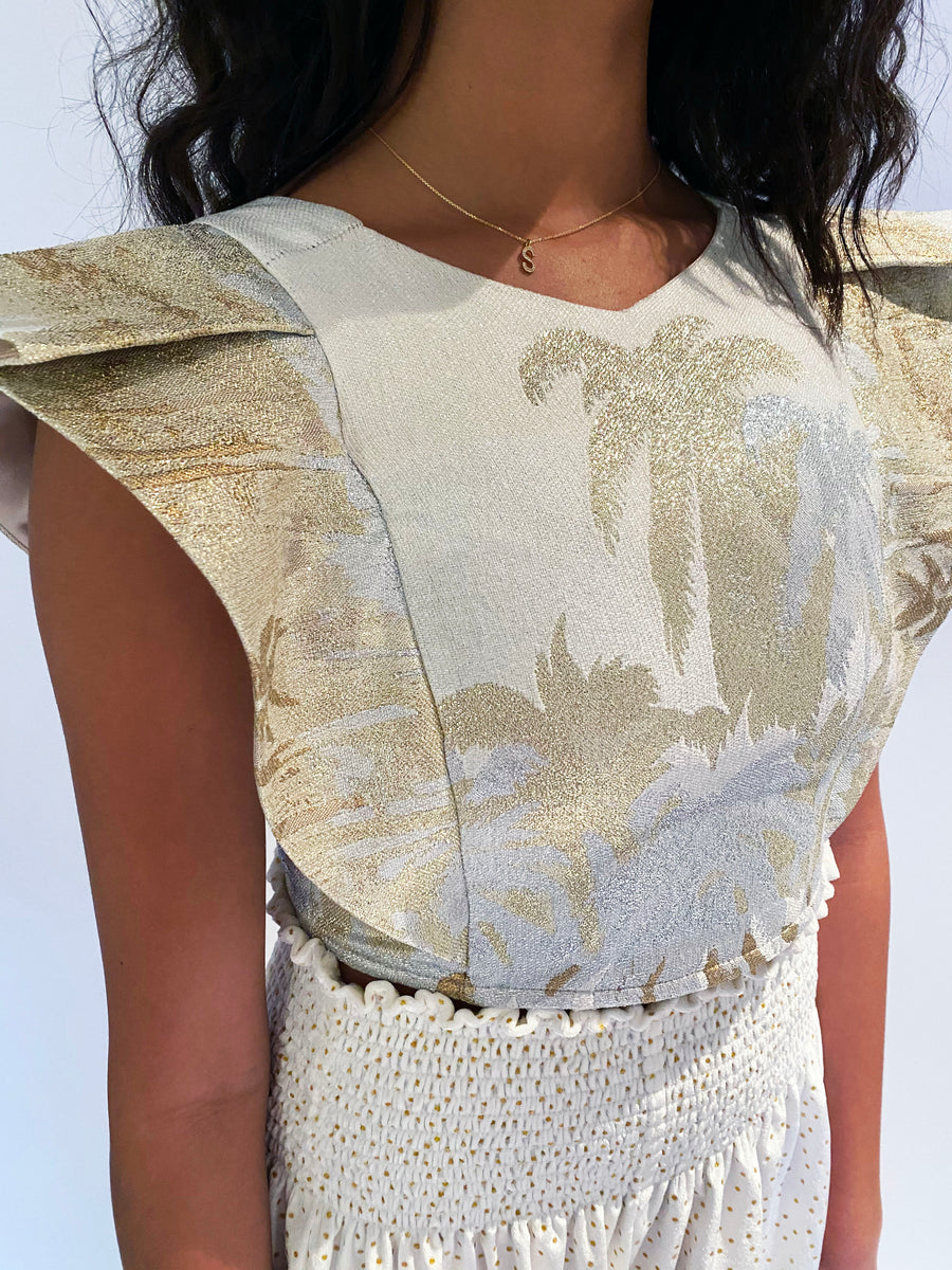 CECILIA TOP GOLD PALM TREES *LIMITED*EDITION*