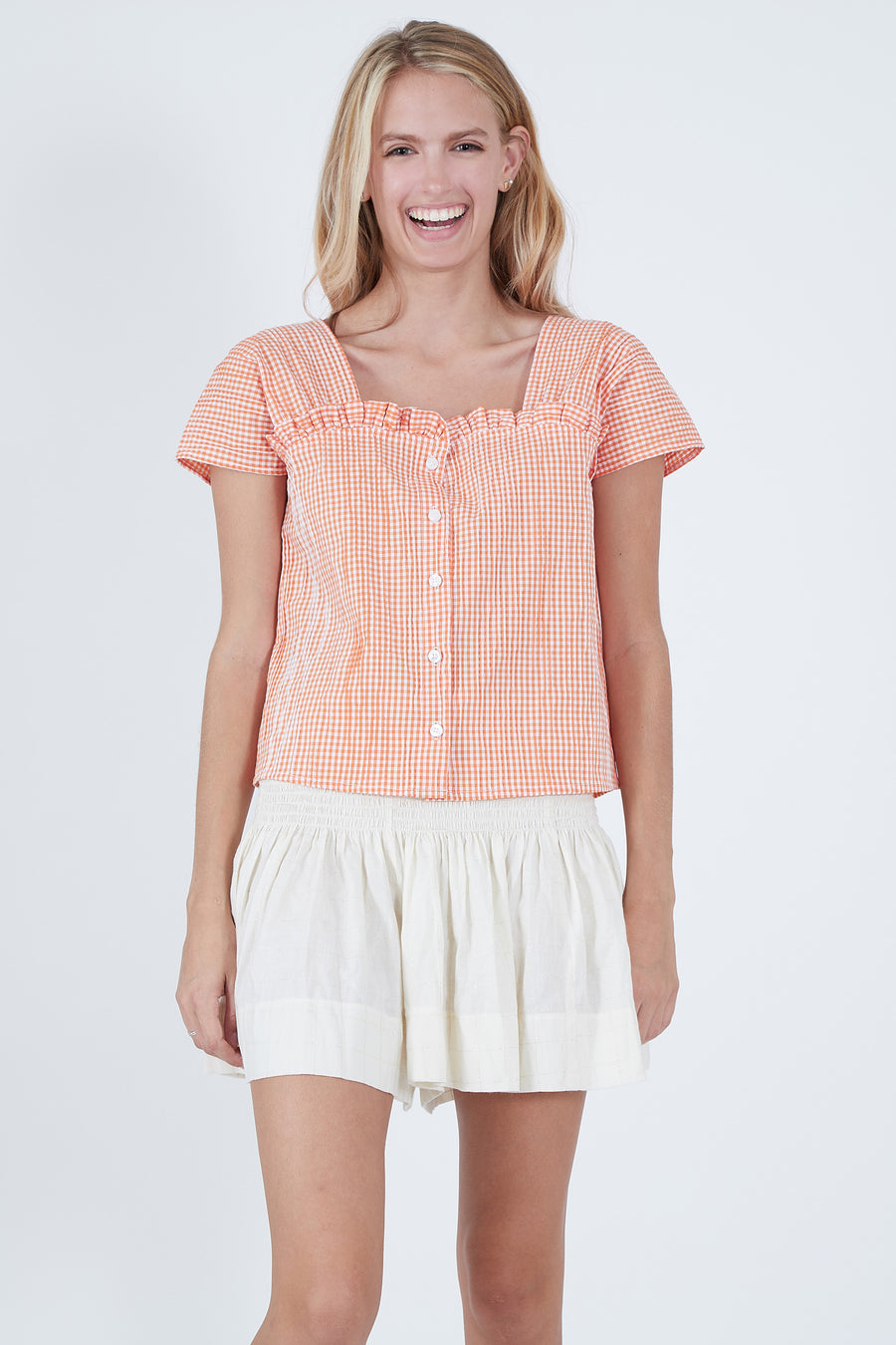 EMILY TOP ORANGE CHECK *LIMITED*EDITION*