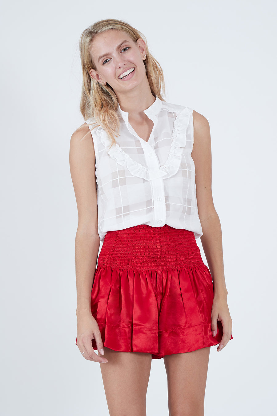 ERICA SKIRT RED POLYSATIN