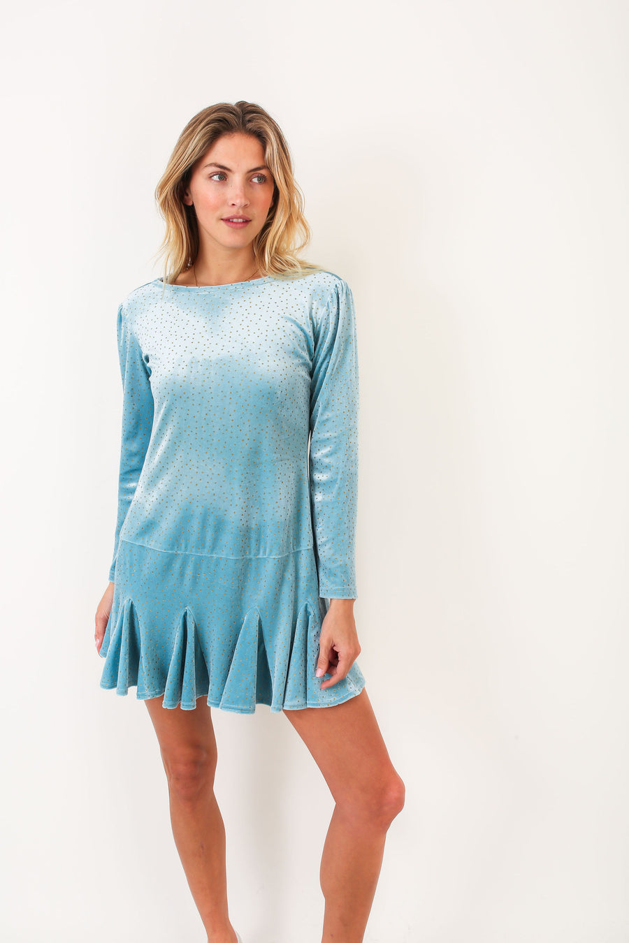 SERAFINA DRESS BLUE SHIMMER VELVET