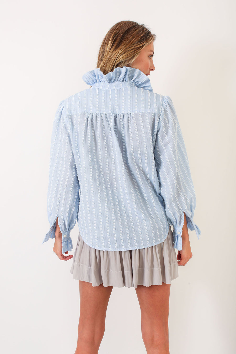 PHOEBE TOP BLUE FRINGE