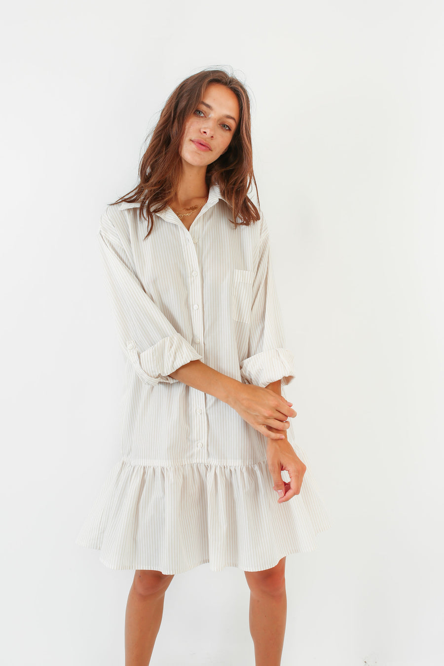 LINDSEY DRESS WHITE SAND STRIPE