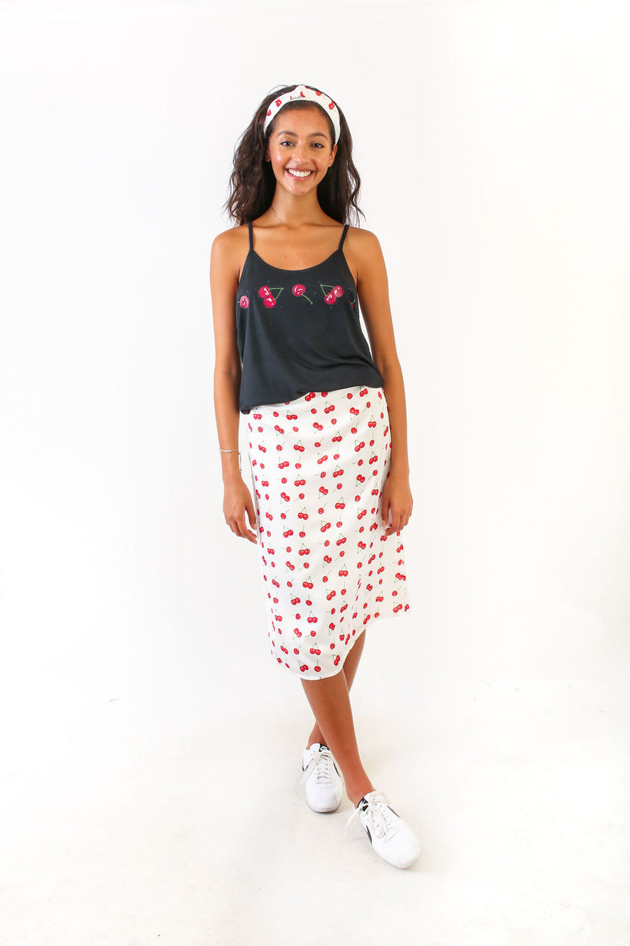 SARAH TANK TOP BLACK WITH CHERRIES *LIMITED*EDITION*