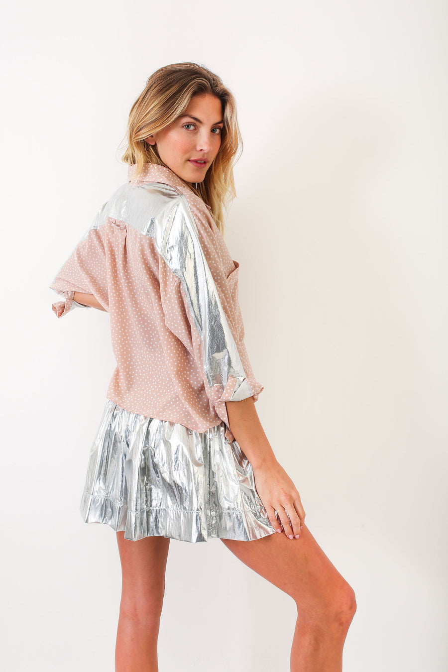 ERICA SKIRT SILVER METALLIC