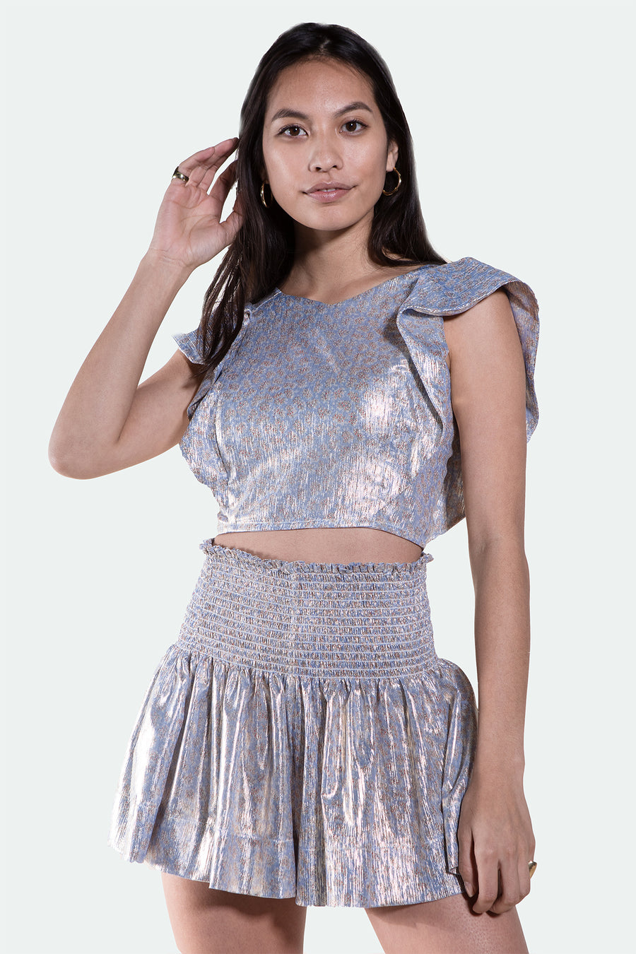 ERICA SKIRT SKY METALLIC