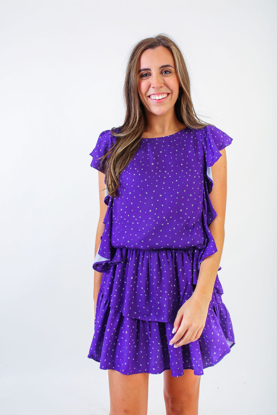 MADISON DRESS PURPLE WITH WHITE STARS *LIMITED*EDITION*