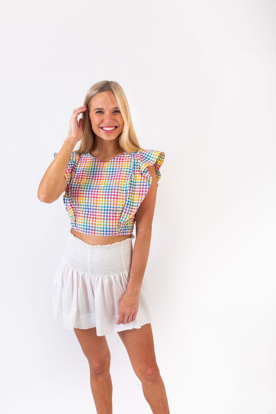 CECILIA TOP RAINBOW CHECK *LIMITED*EDITION*