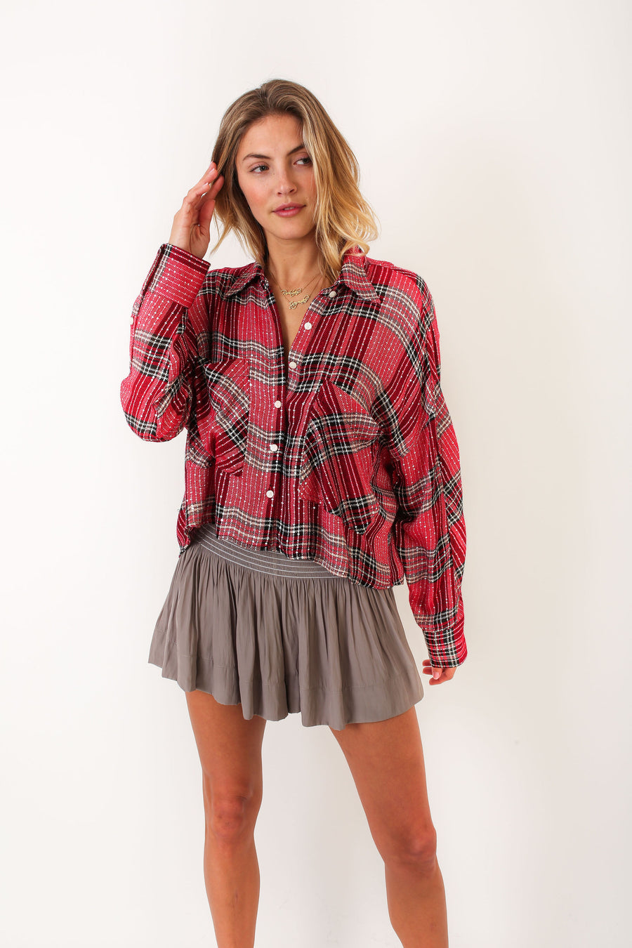 LYLE TOP HOLLY BERRY PLAID