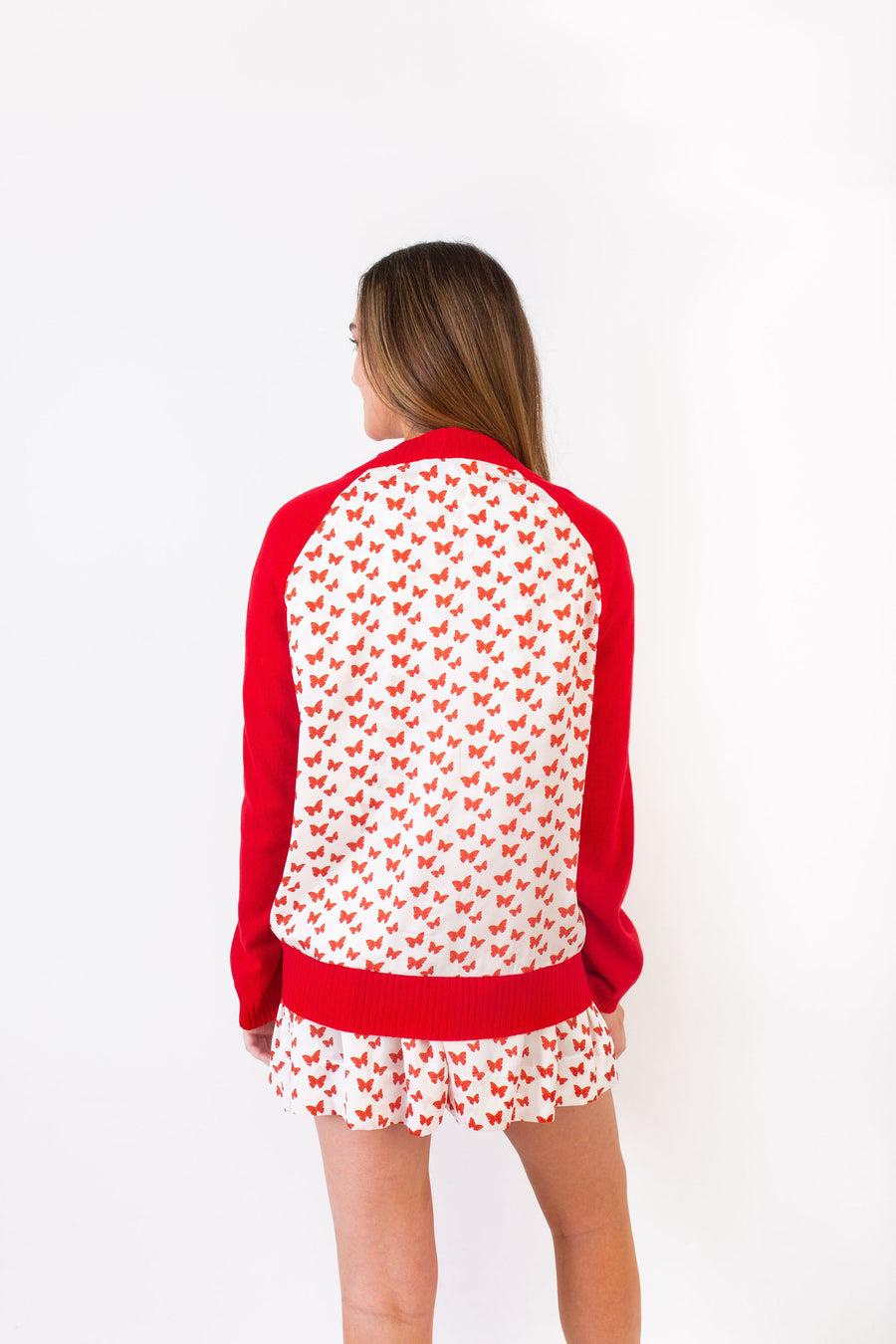 WHITMAN SWEATER RED W/ RED BUTTERFLY *LIMITED*EDITION*