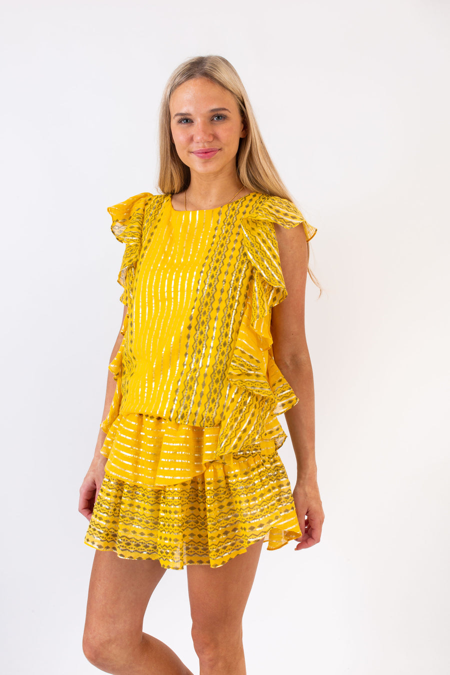 CARA TOP METALLIC SUNFLOWER