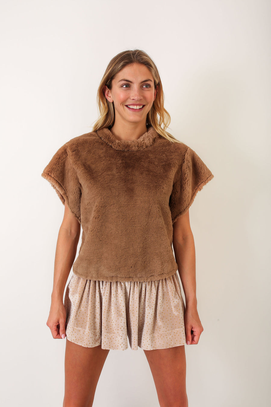 AUDREY TOP TOFFEE FAUX