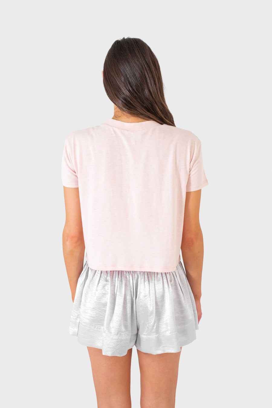 DANNIE CROPPED T-SHIRT PALE PINK W/ STARS