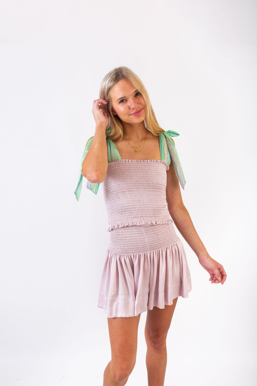 CECE TOP COTTON CANDY POLYSATIN