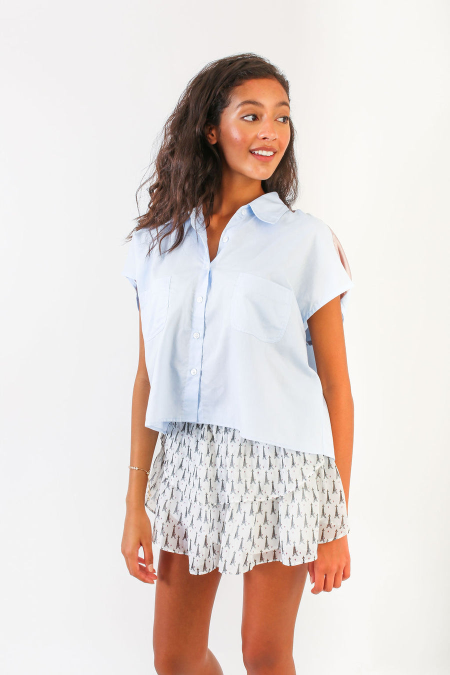 SPENCER TOP BLUE SHIRTING *LIMITED*EDITION*