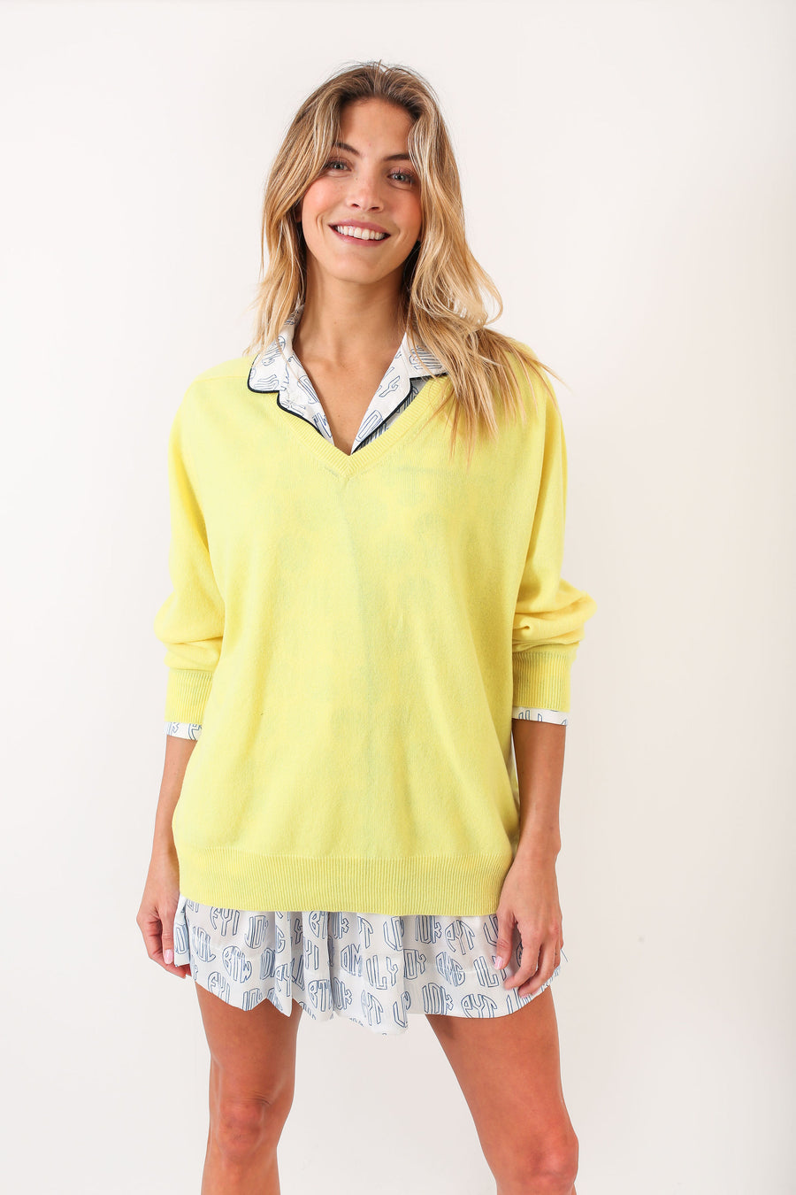PETE SWEATER YELLOW W/ NAVY AND WHITE STRIPES
