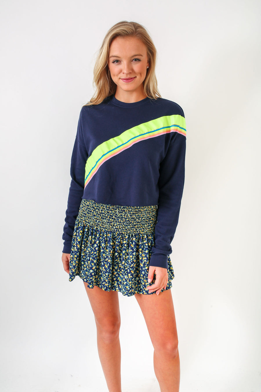 Cropped Sweatshirt Navy w/ neon trim