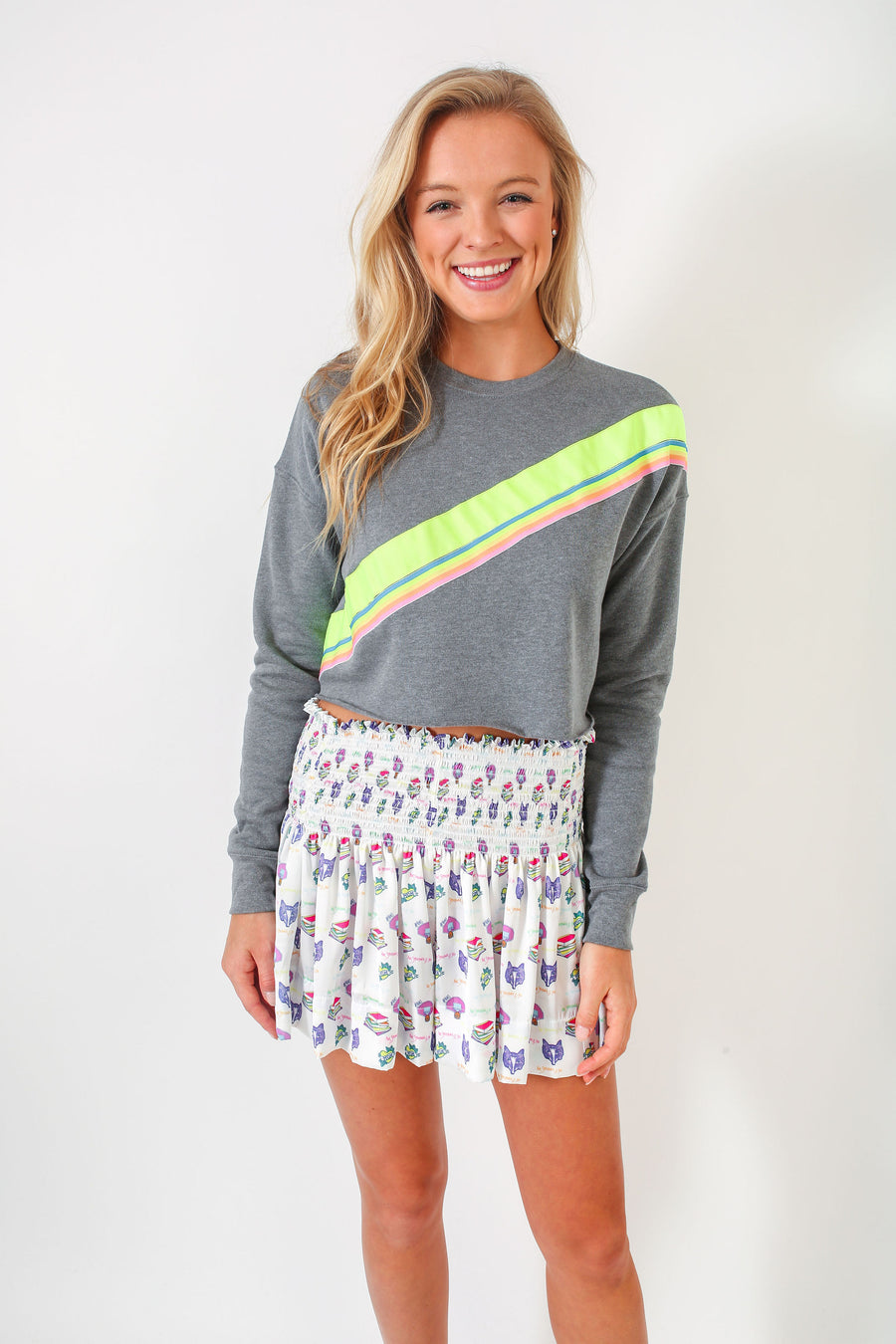 CROPPED SWEATSHIRT GREY/ NEON TRIM