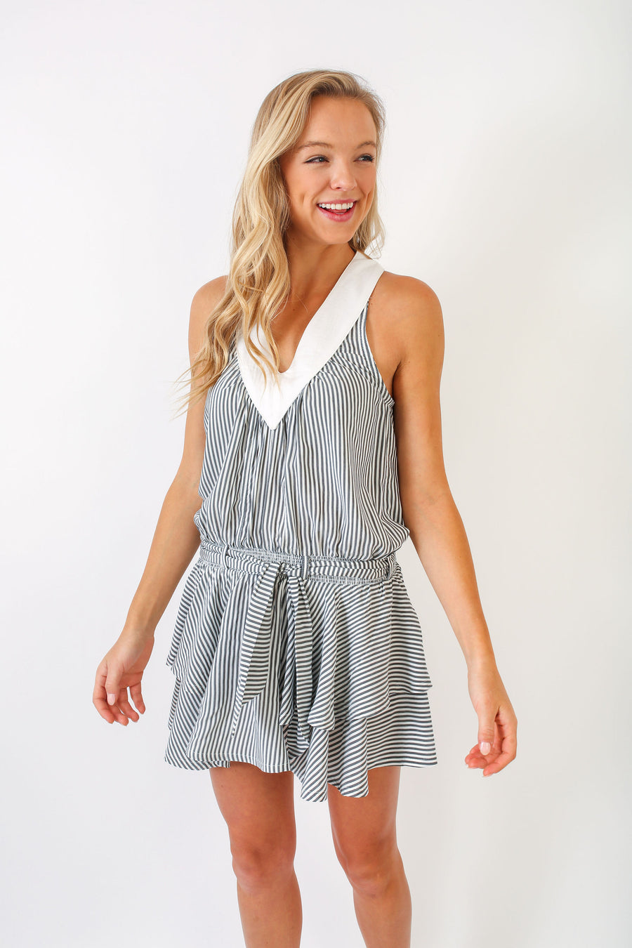 HALEY DRESS GREY CANDY STRIPE