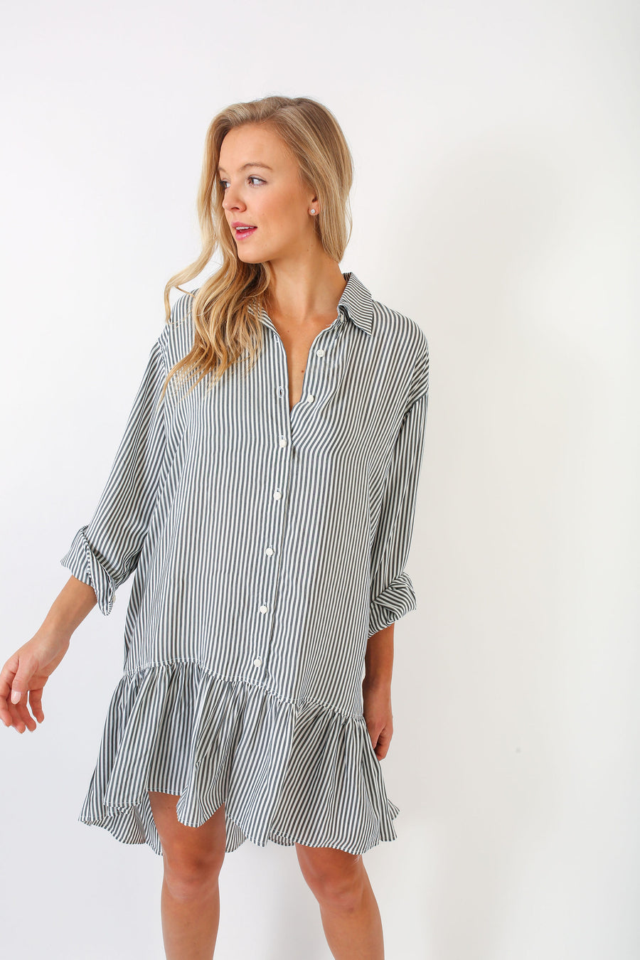 LINDSEY DRESS GREY CANDY STRIPE