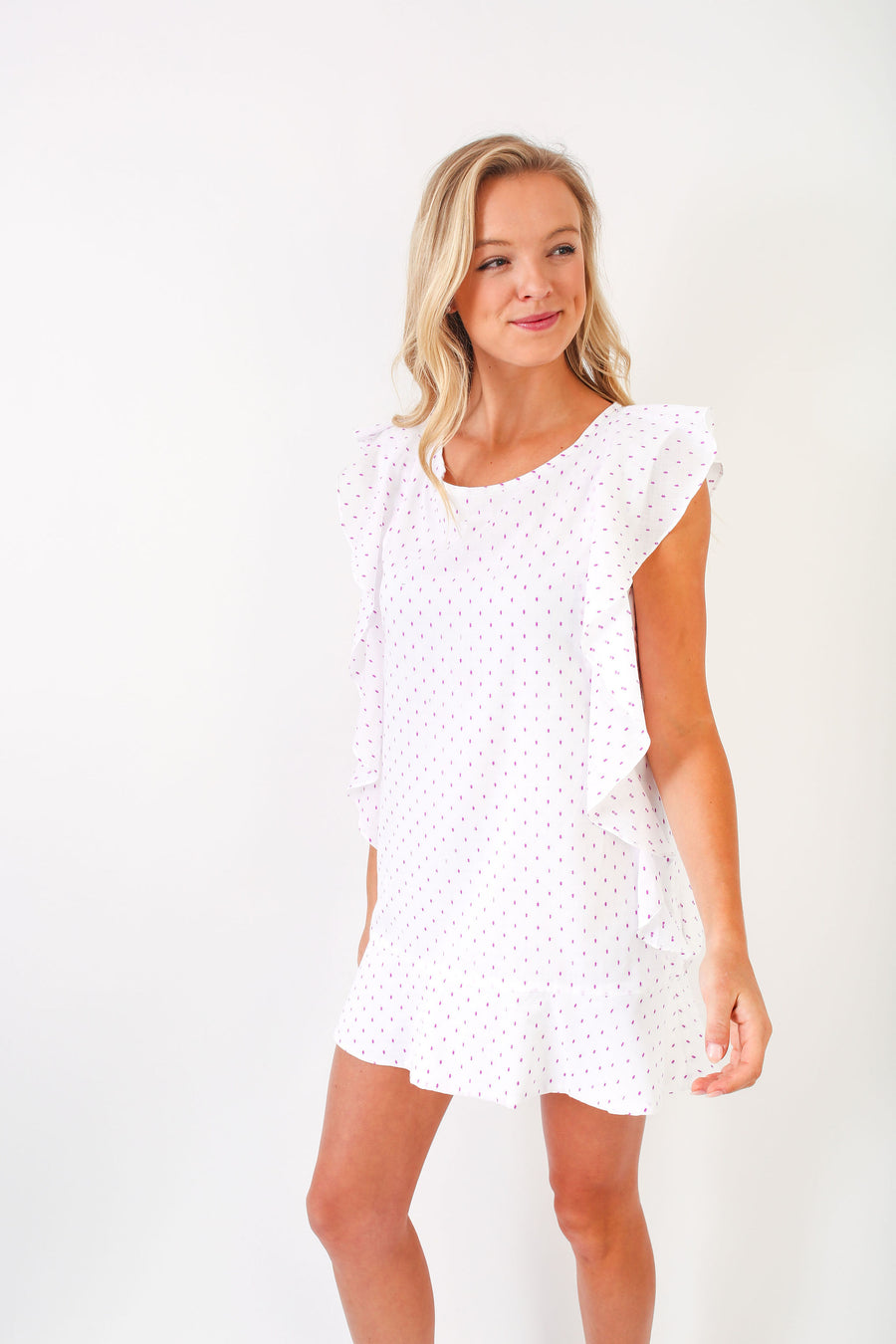 NOAH DRESS PURPLE DOT SHIRTING