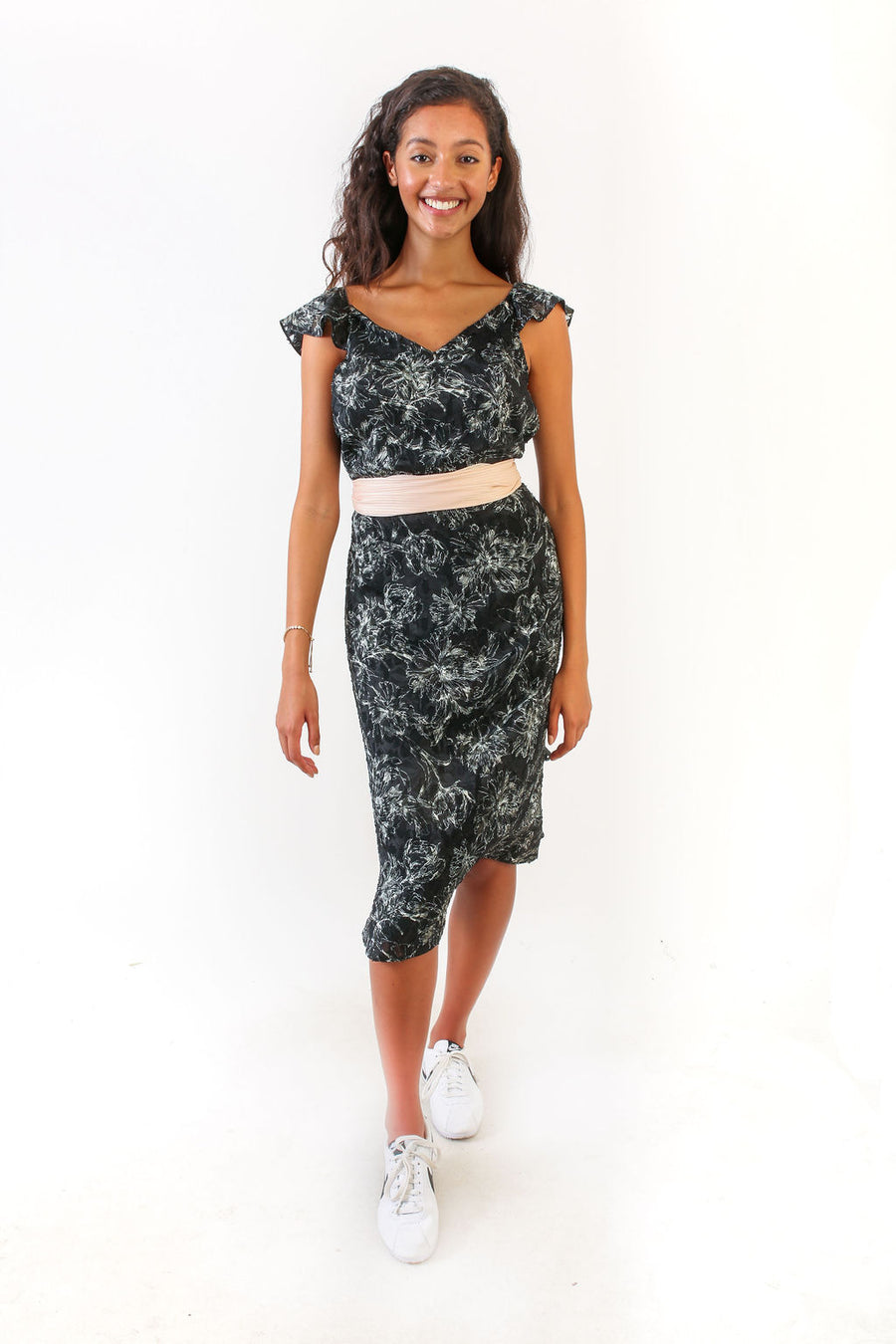BELLA SKIRT BLACK CHIFFON WITH WHITE FLOWERS *LIMITED*EDITION*