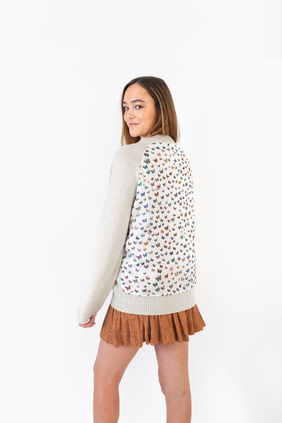 WHITMAN SWEATER GREY W/ RAINBOW BUTTERFLY *LIMITED*EDITION*