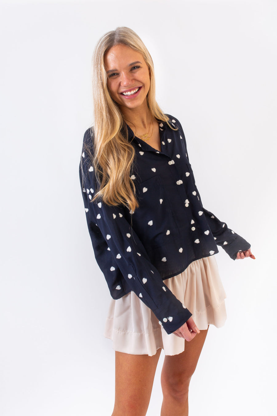 LYLE TOP NAVY HEARTS