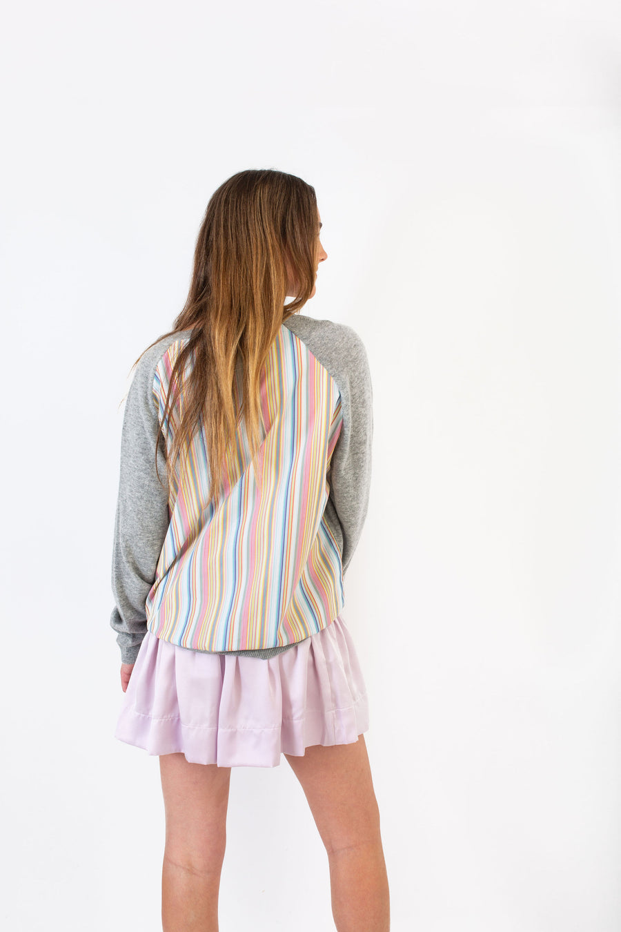 PETE SWEATER GREY W/ MULTI COLOR STRIPE