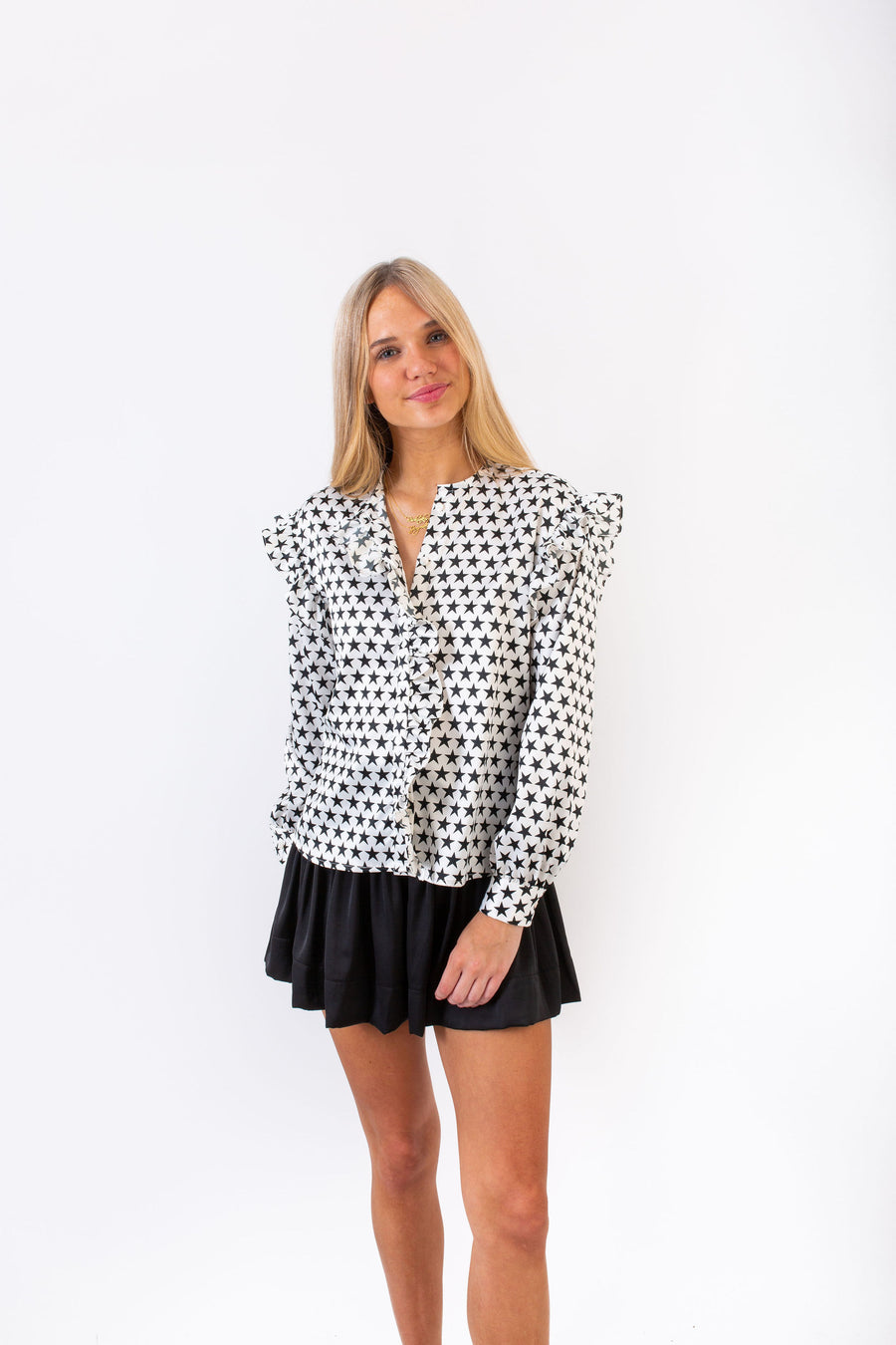 IRIS TOP BLACK AND WHITE STARS *LIMITED*EDITION*