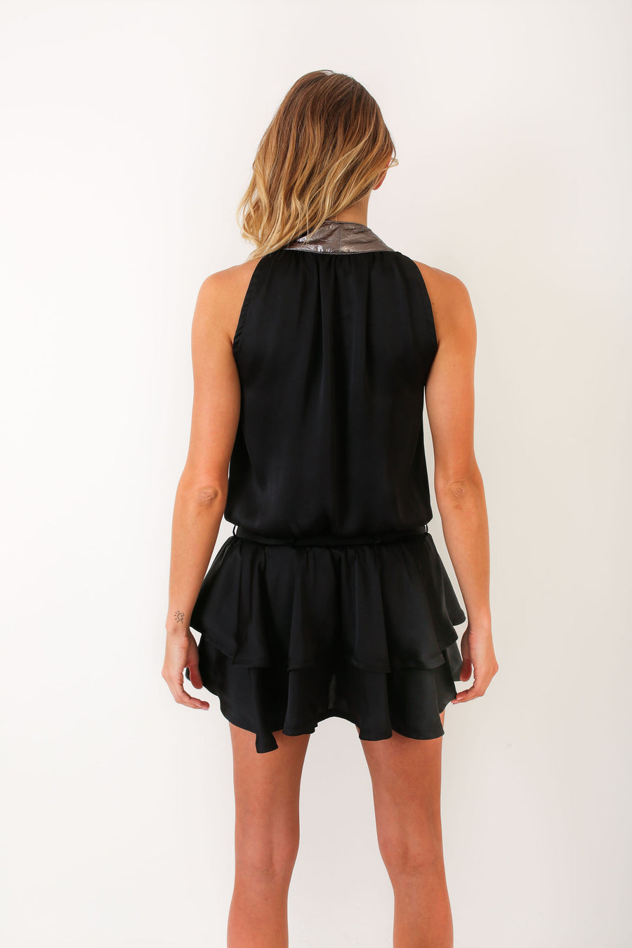 HALEY DRESS BLACK POLYSATIN