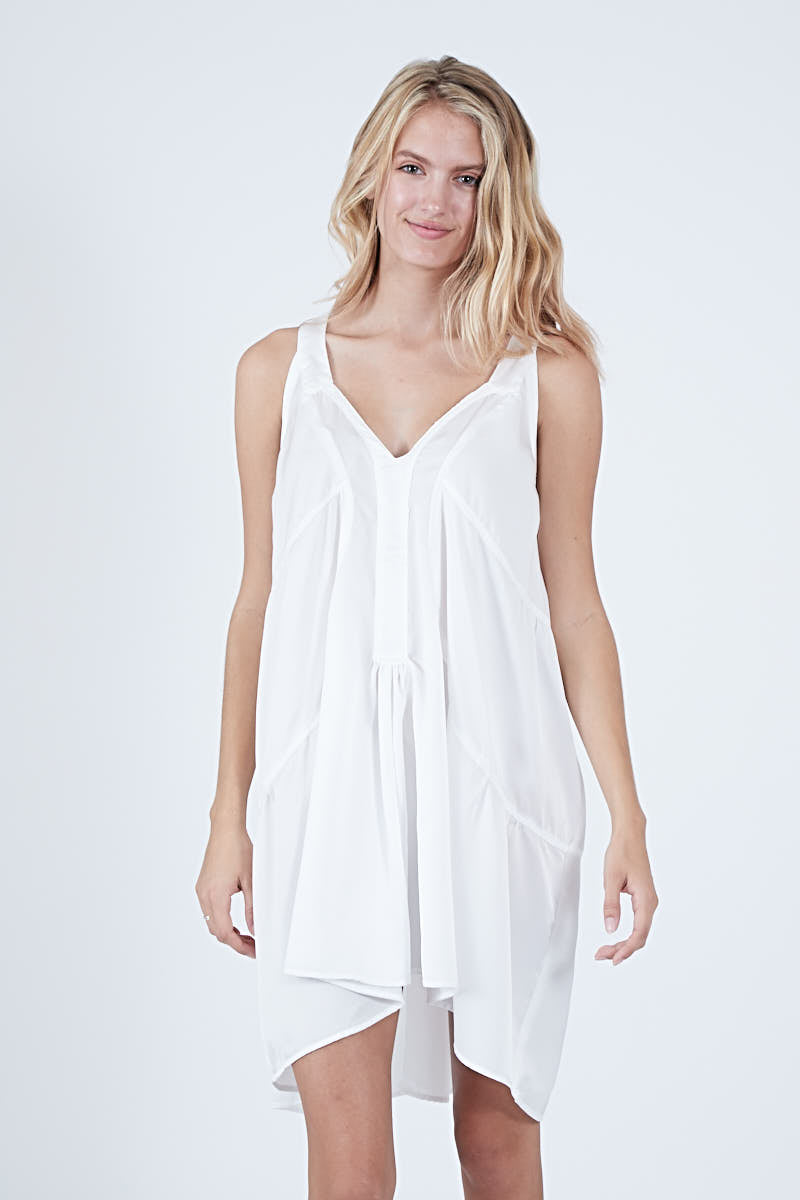 JINX DRESS - WHITE POLYSATIN