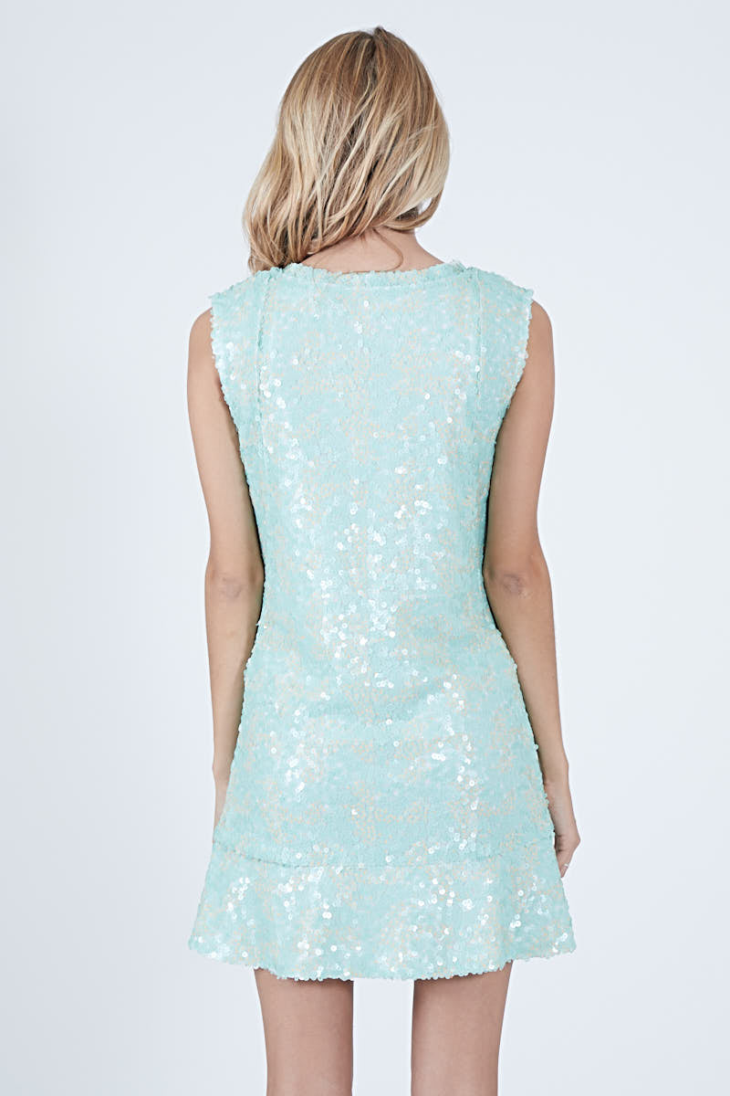 MARGUERITE DRESS - AQUA MARINE SEQUIN *LIMITED*EDITION*