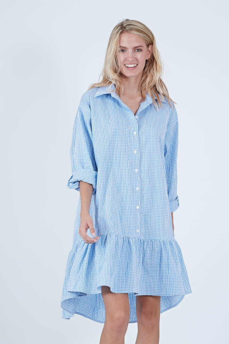 LINDSEY DRESS - BLUE CHECK