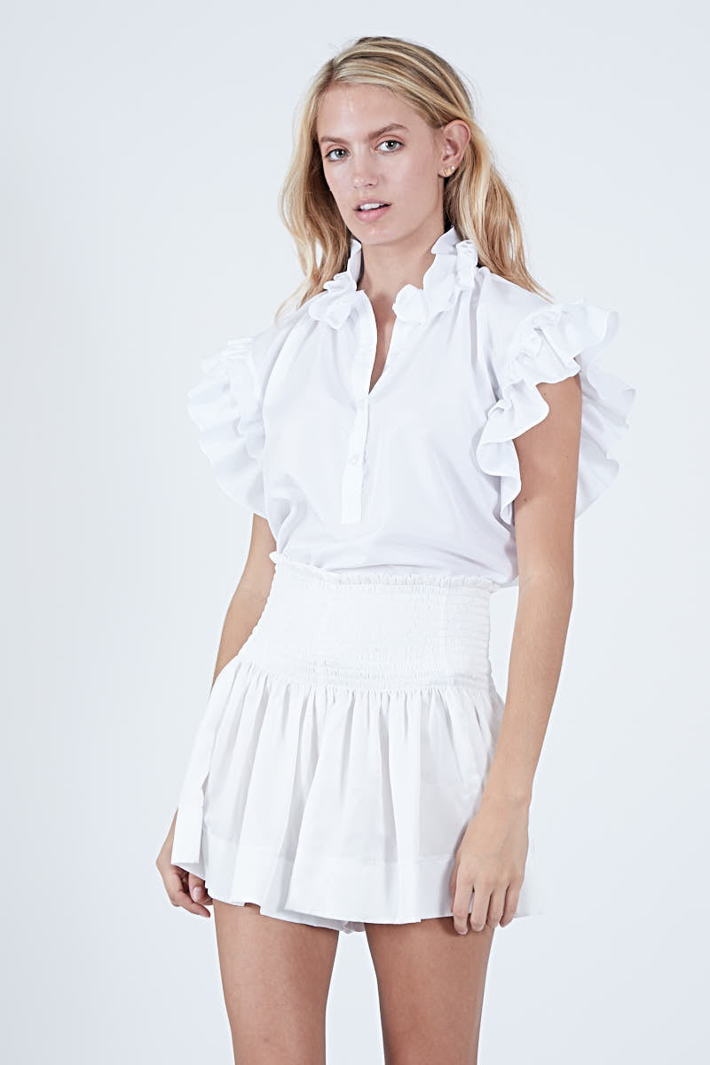 PIXIE TOP WHITE POLYSATIN