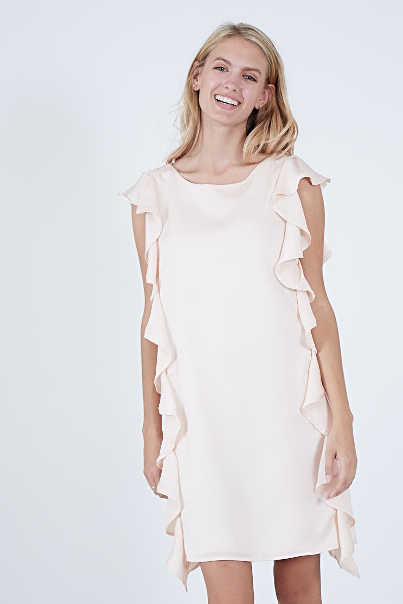 COLETTE DRESS BLUSH POLYSATIN