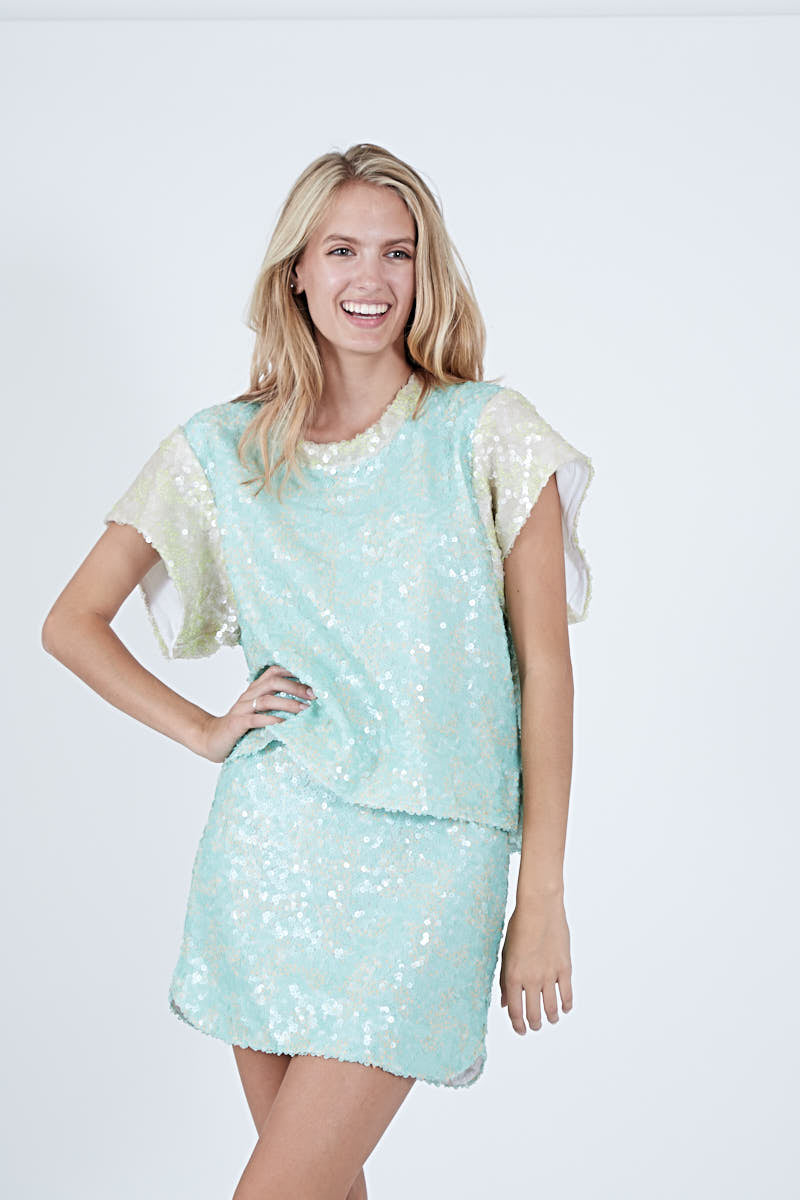 SUNNIE SKIRT AQUAMARINE SEQUIN