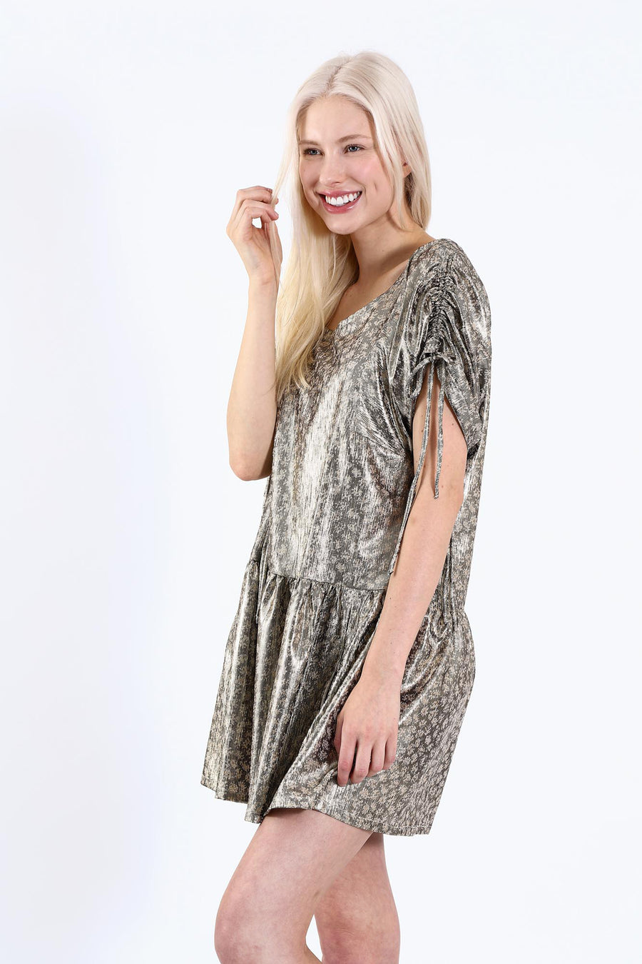 CAMILLE DRESS CHARCOAL METALLIC