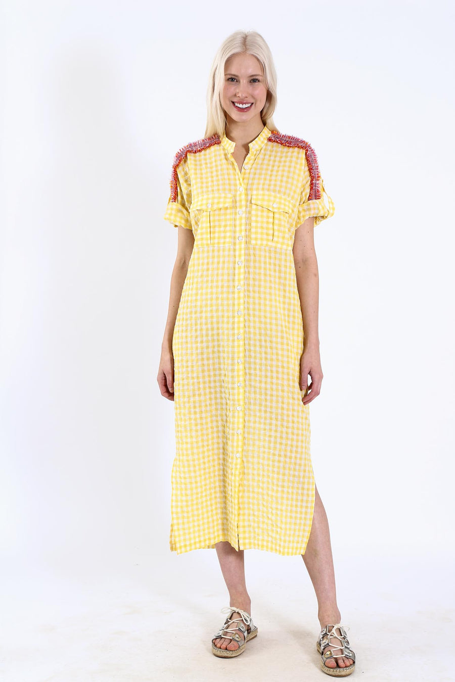 VIRGINIA DRESS BANANA CHECK