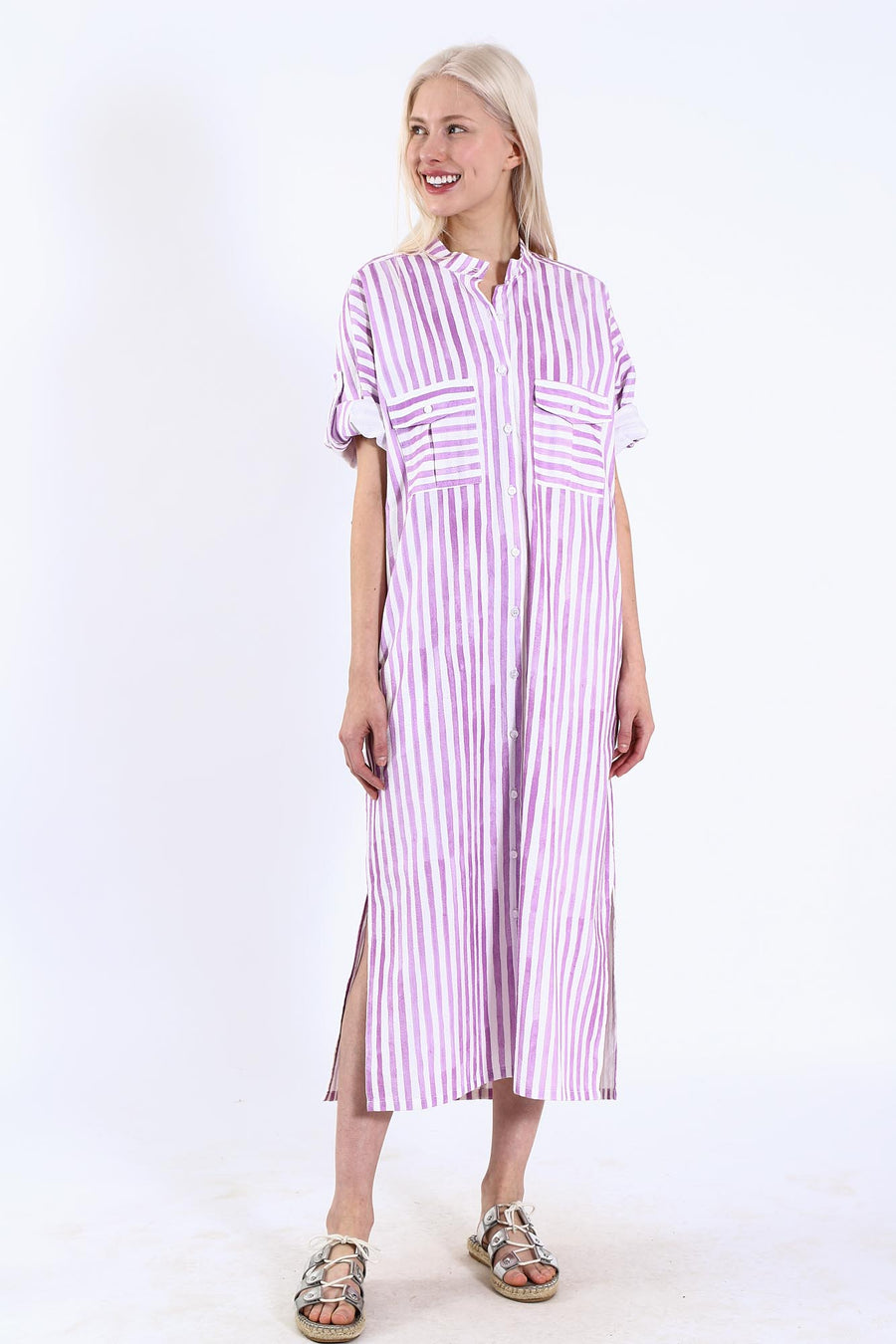 VIRGINIA DRESS LAVENDER STRIPE