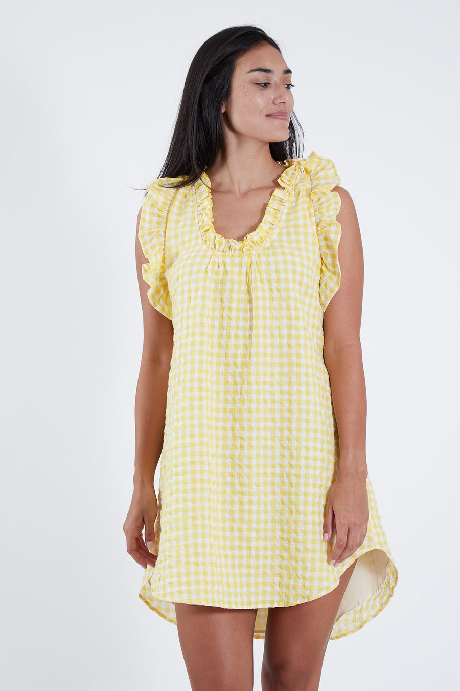 EMMA DRESS BANANA CHECK