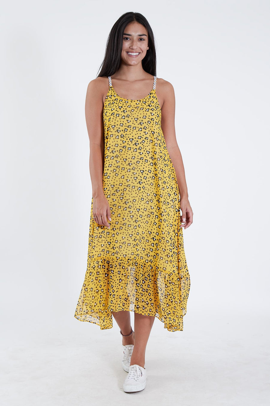 DRAKE DRESS YELLOW LEOPARD