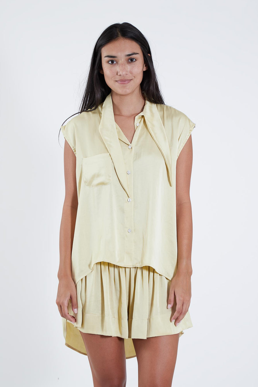 WYATT TOP STRAW POLY SATIN