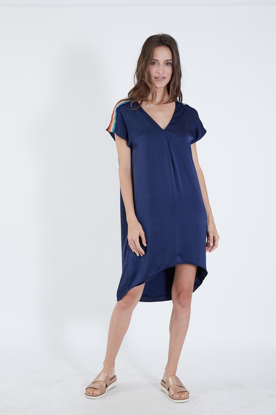 LYRA DRESS NAVY POLY SATIN