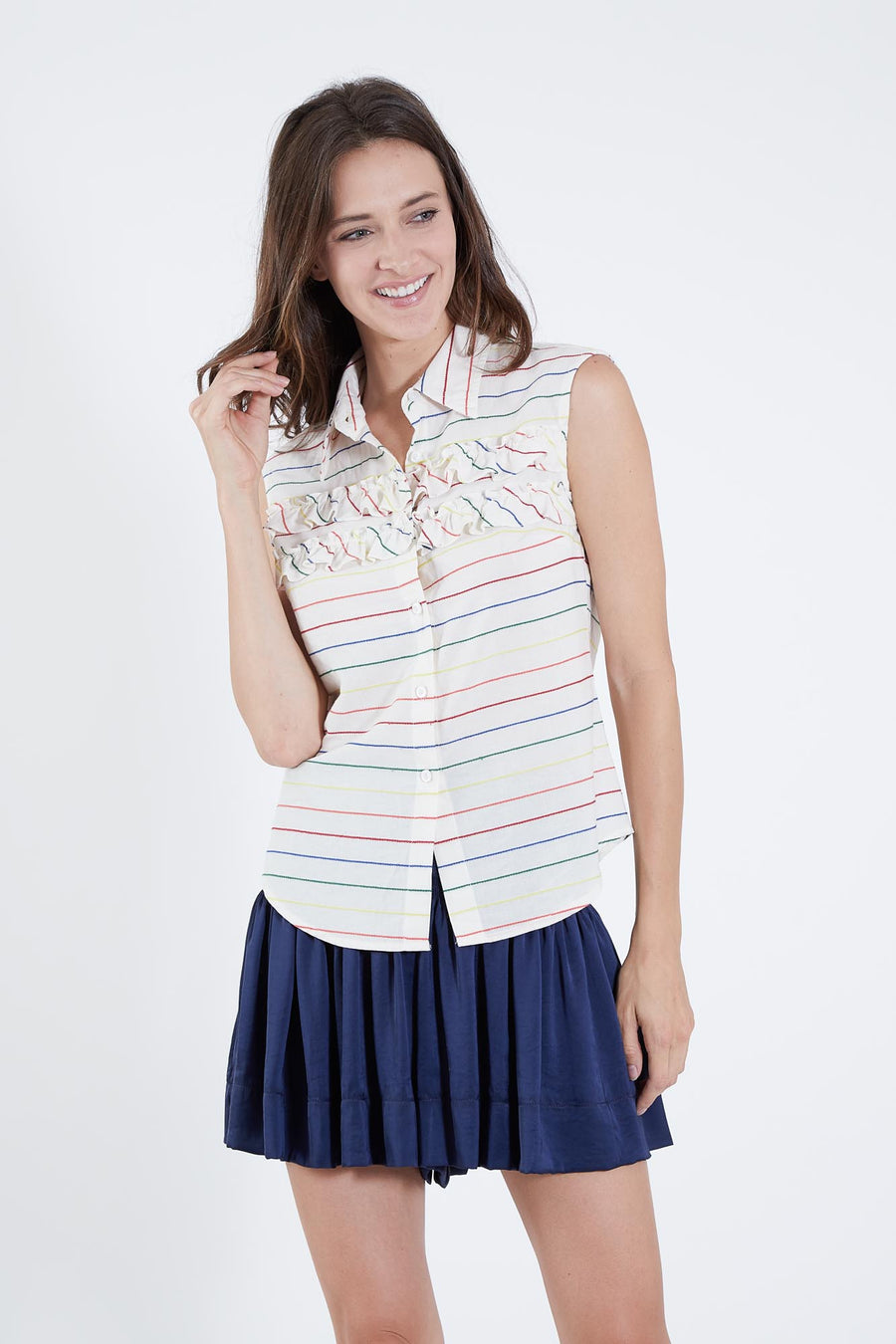 CHARLOTTE TOP RAINBOW STRIPE