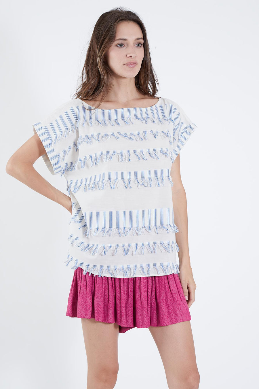 ENEVER TOP BLUE FRINGE STRIPE