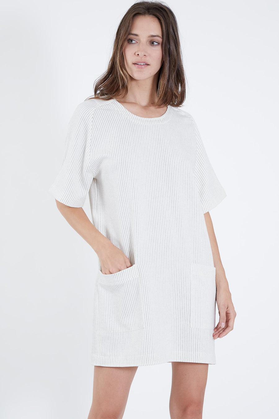 RENZO DRESS OFF-WHITE PINSTRIPE